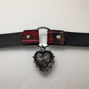 Hot Topic Jewelry - Punk Red Heart Plaid Choker